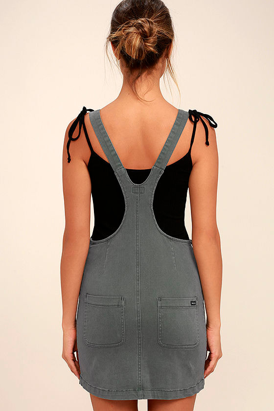 RVCA Oxley Grey Overall Dress 4