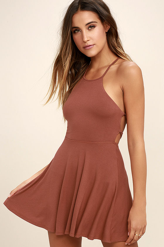 Tied Together Rusty Rose Lace-Up Dress 3