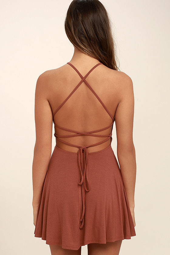 Tied Together Rusty Rose Lace-Up Dress 4