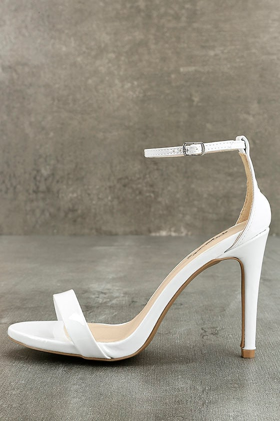 Chic White Single Sole Heels - Patent Vegan Leather Heels - Ankle Strap  Heels -  27.00