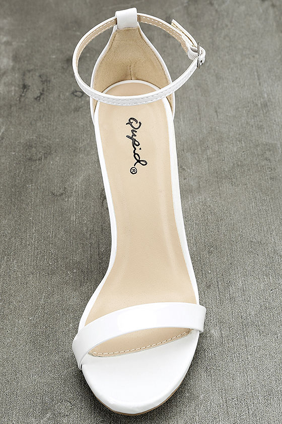 All-Star Cast White Patent Ankle Strap Heels 5