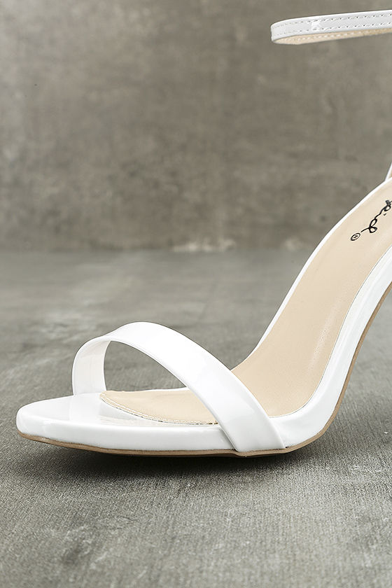 All-Star Cast White Patent Ankle Strap Heels 6