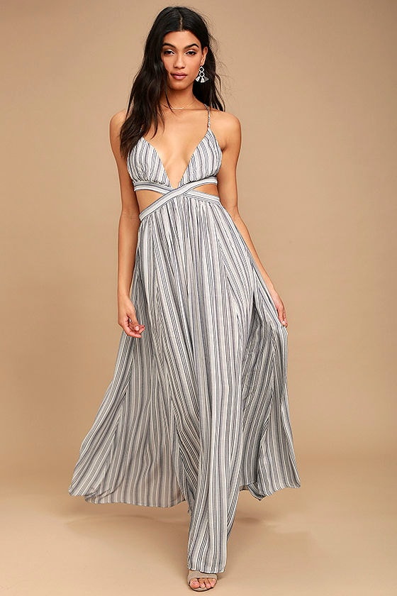 Breezy Day Blue and White Striped Maxi Dress 1