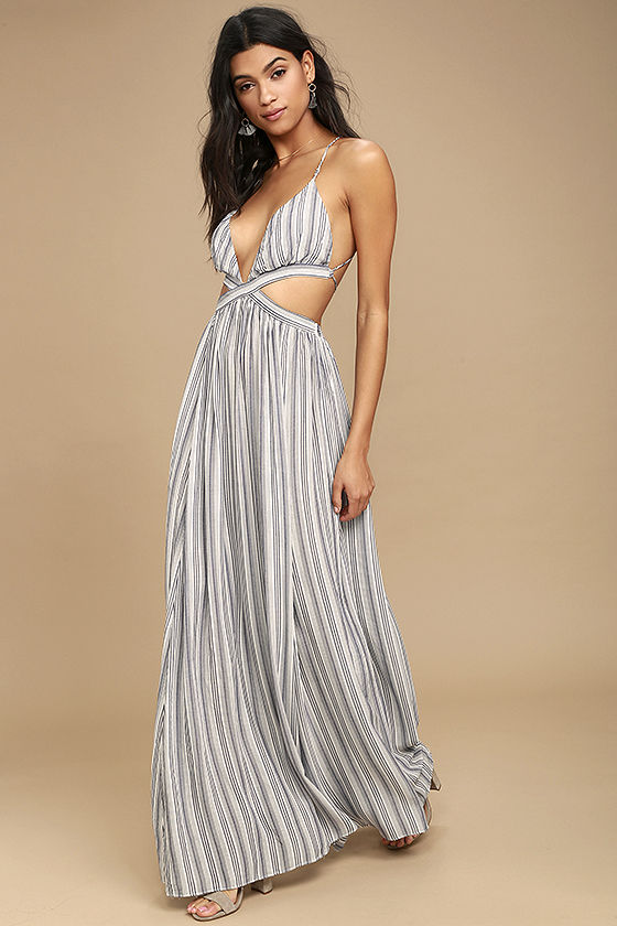 Breezy Day Blue and White Striped Maxi Dress 3