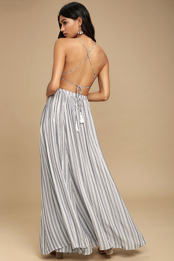 Breezy Day Blue and White Striped Maxi Dress 4