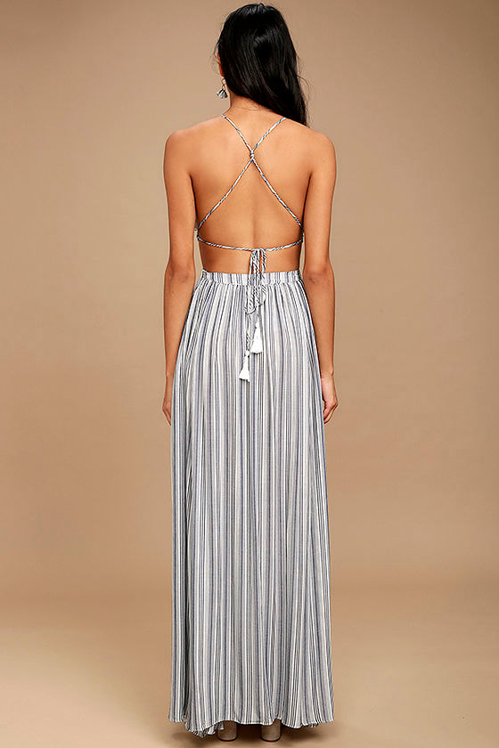 Breezy Day Blue and White Striped Maxi Dress 5