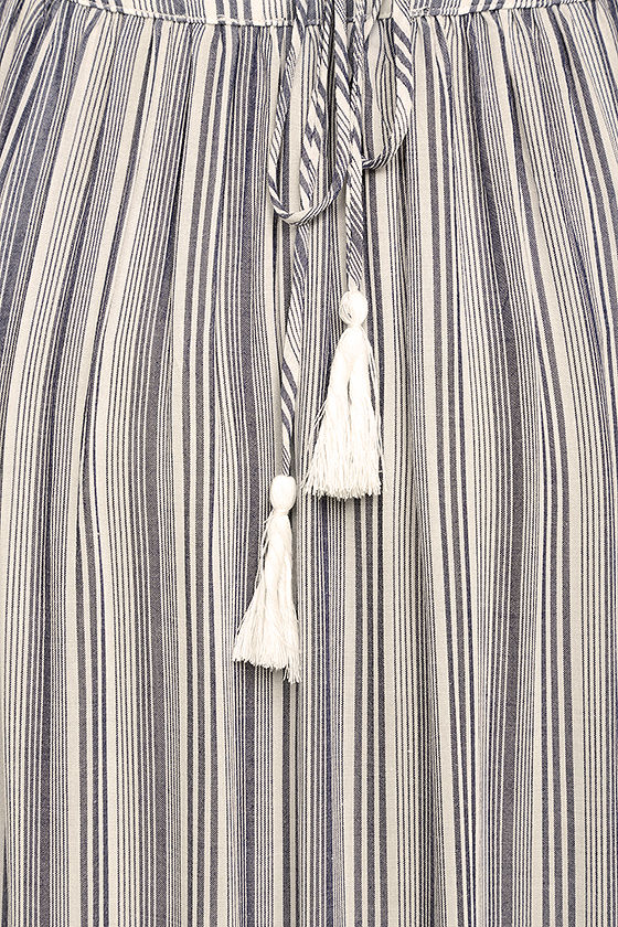 Breezy Day Blue and White Striped Maxi Dress 7