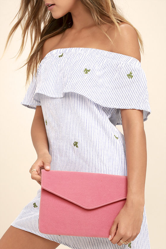 Daily To-Do Pink Velvet Clutch 1