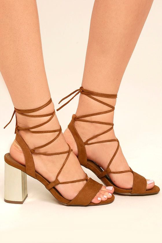 Afina Tan Suede Lace-Up Heels 3