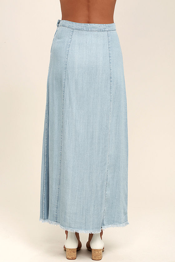 light blue skirt chambray skirt maxi skirt 67 00