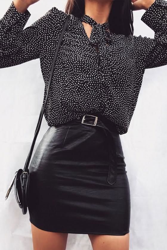 On the Spot Black Polka Dot Button-Up Top 7