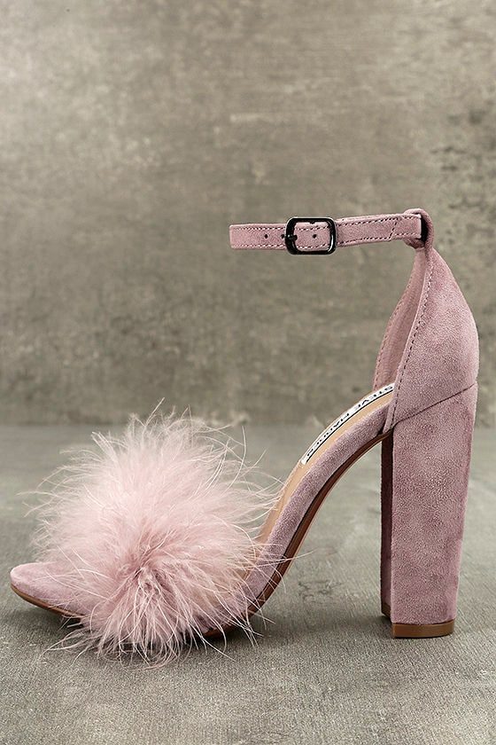 c358e93a2bc Steve Madden Carabu - Rose Suede Leather Heels - Ankle Strap Heels -  Feather Heels -  99.00