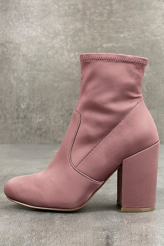 c9a704fad41 Steve Madden Gaze Blush - Satin Mid-Calf Booties - Satin Sock Boots - Pink  Sock Boots -  99.00