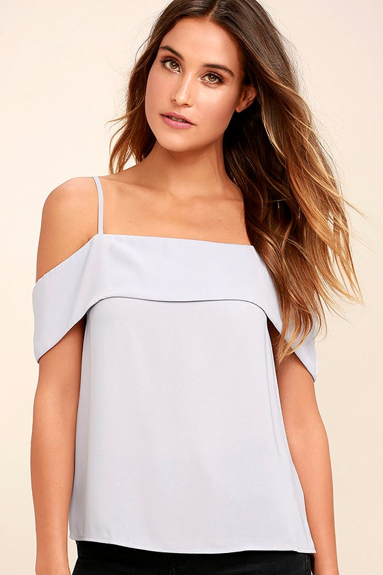 Play a Tune Grey Off-the-Shoulder Top 1