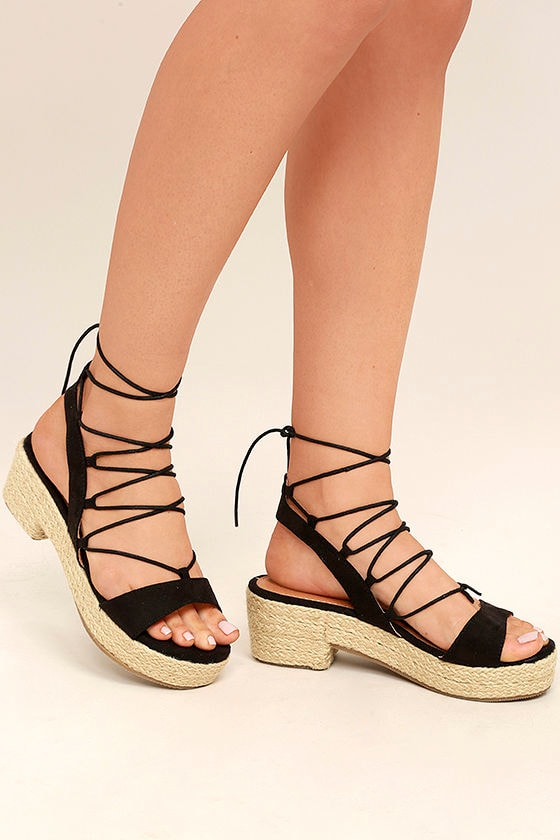 Jenay Black Lace-Up Espadrille Platforms 1