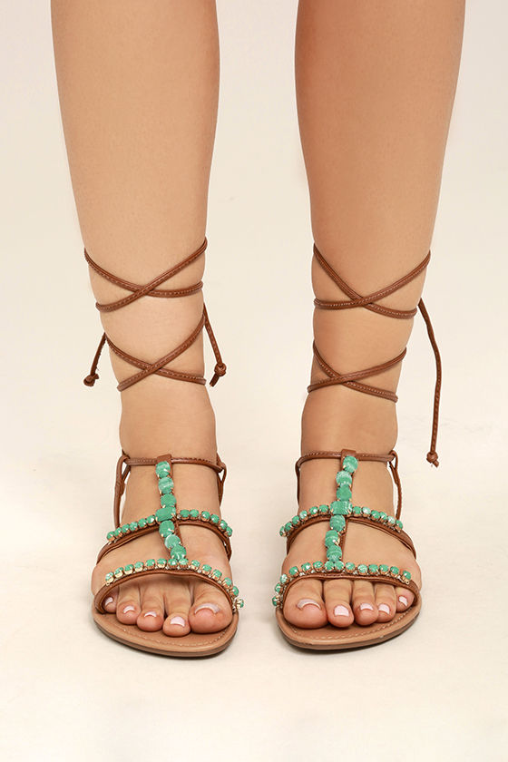 Madden Girl Kalipsoo Cognac Beaded Lace-Up Sandals 2