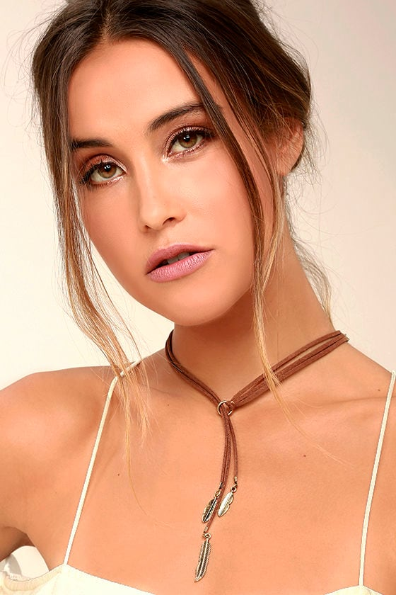 Tell Them a Tale Gold and Brown Lariat Necklace 1