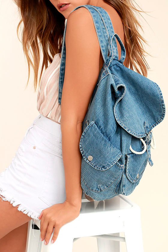 Rock with You Blue Denim Backpack 1