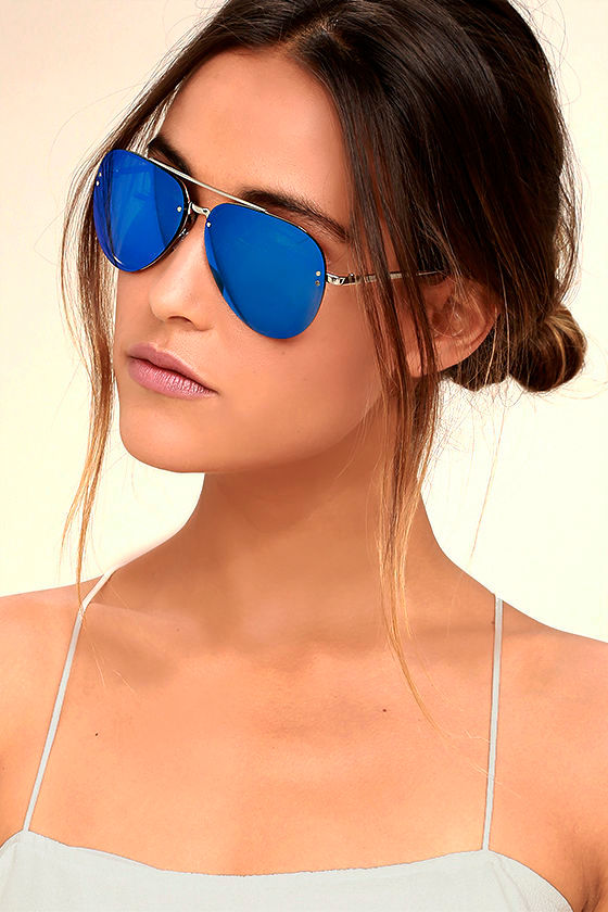Style Radar Blue Mirrored Aviator Sunglasses 2