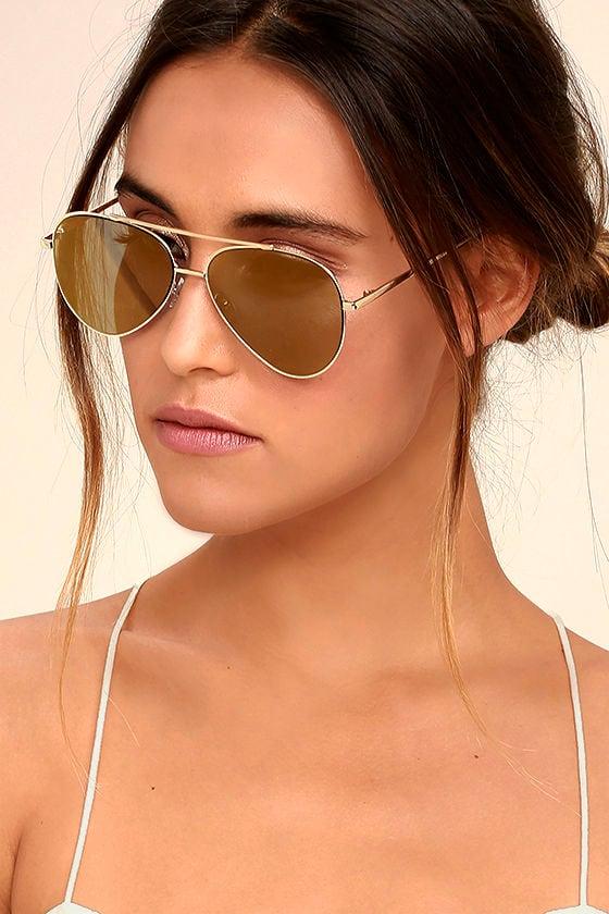 Perverse Bronson Gold Mirrored Aviator Sunglasses 1