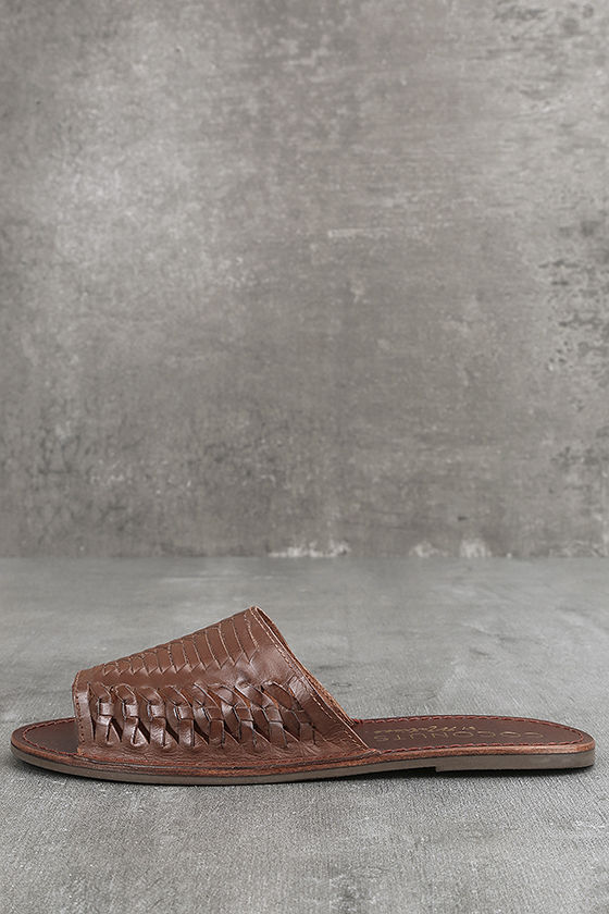 Coconuts Mateo Saddle Brown Leather Slide Sandals 1