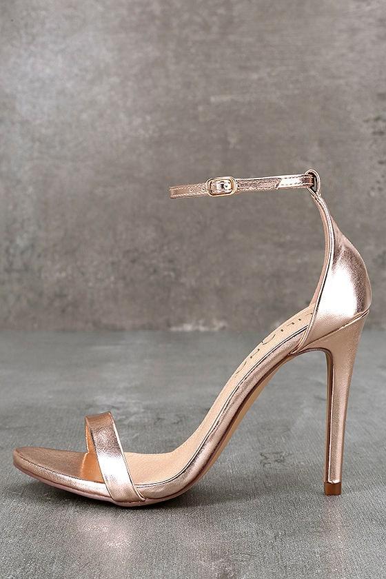 Queena Rose Gold Ankle Strap Heels 1