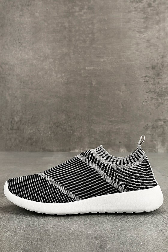 Cool Grey Knit Sneakers - Slip-on Knit