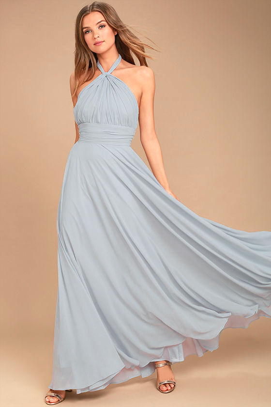 Dance of the Elements Blue Grey Maxi Dress 1