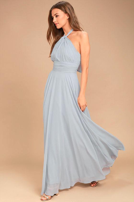 Dance of the Elements Blue Grey Maxi Dress 3