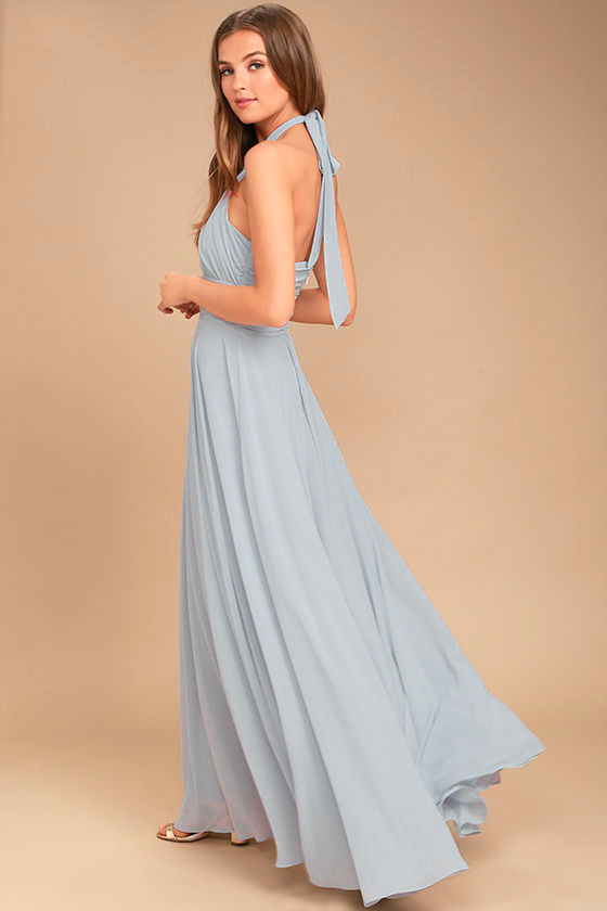 Dance of the Elements Blue Grey Maxi Dress 4