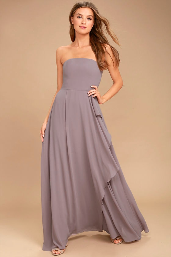 Sweetest Kiss Taupe Strapless Maxi Dress 1