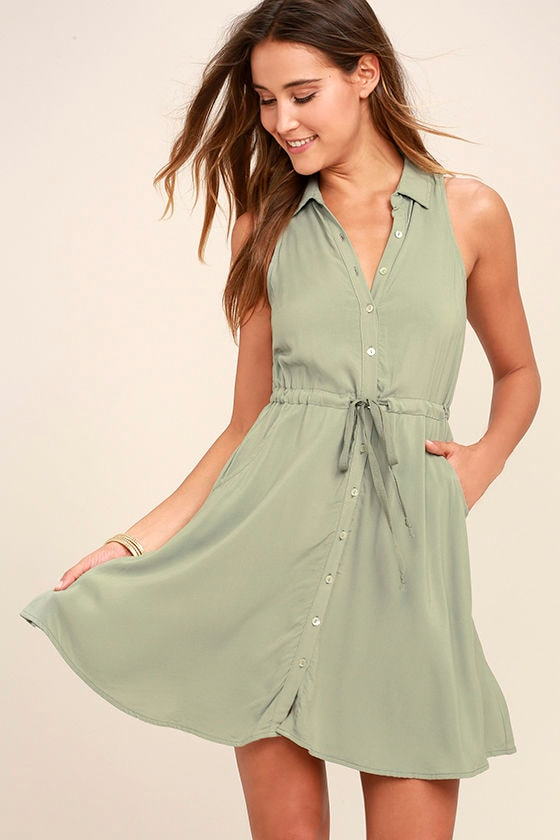 Others Follow Maddox Washed Olive Green Shirt Dress 1
