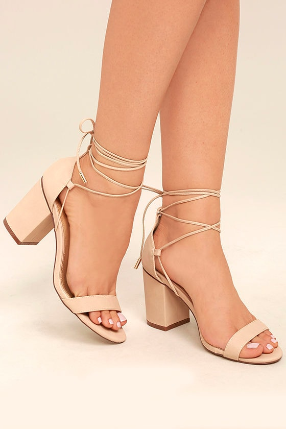 Chic Beige Heels Lace Up Heels Vegan Leather Heels
