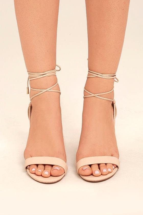 fec62d950bc7 Beige Heels - Lace-Up Heels - Vegan Leather Heels -  38.00