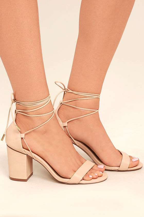 Kaira Beige Lace-Up Heels 3