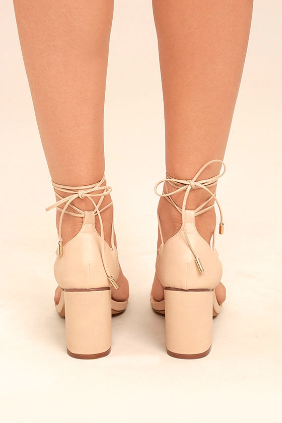 Kaira Beige Lace-Up Heels 4