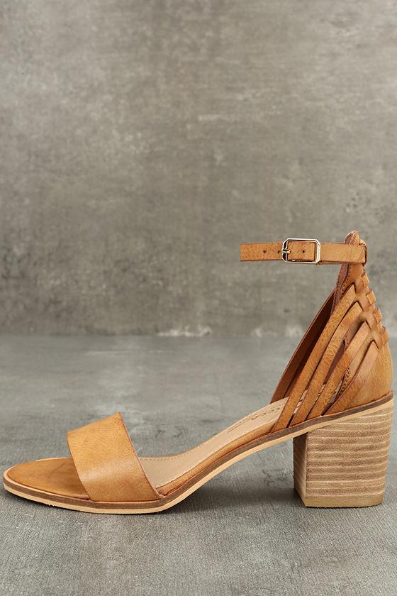 Sbicca Fars Tan Ankle Strap Heels 1