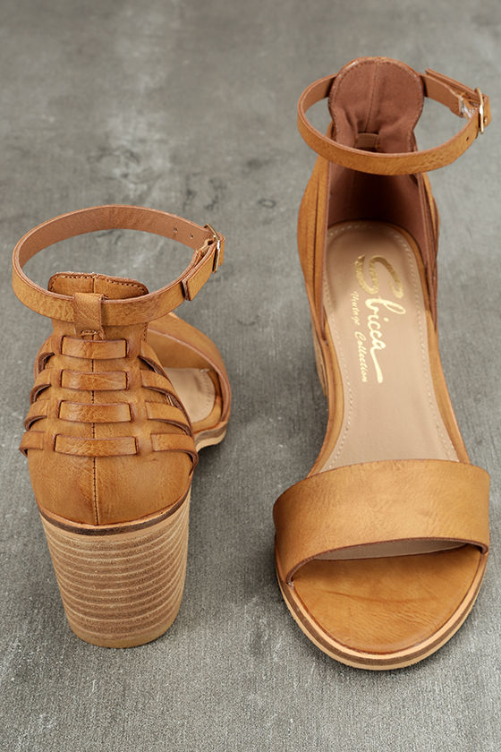 Sbicca Fars Tan Ankle Strap Heels 3