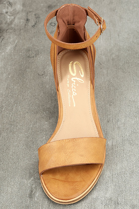 Sbicca Fars Tan Ankle Strap Heels 5