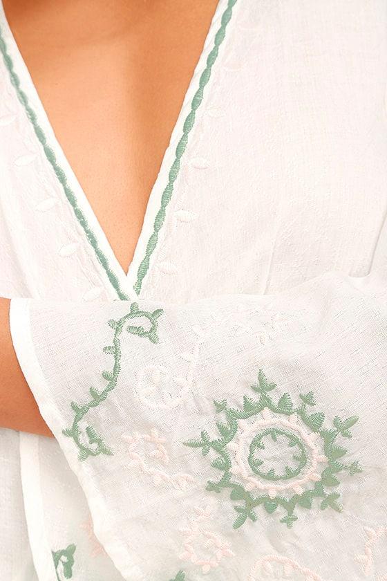 Zen Again White Embroidered Crop Top 6