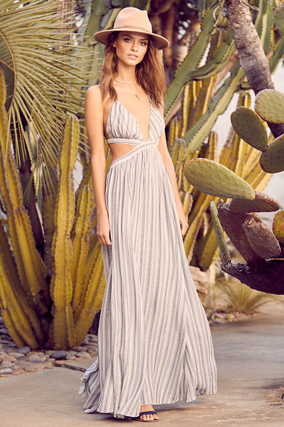 Breezy Day Blue and White Striped Maxi Dress 2