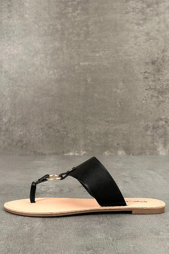 6cb47fdd9009eb Black Sandals - Flat Sandals - Vegan Leather Sandals - Thong Sandals -   18.00