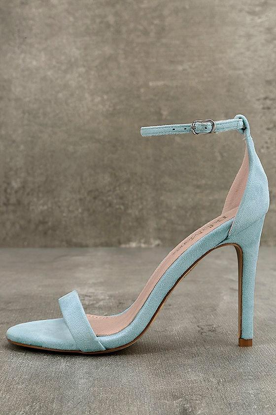 Agusta Aqua Suede Ankle Strap Heels 1