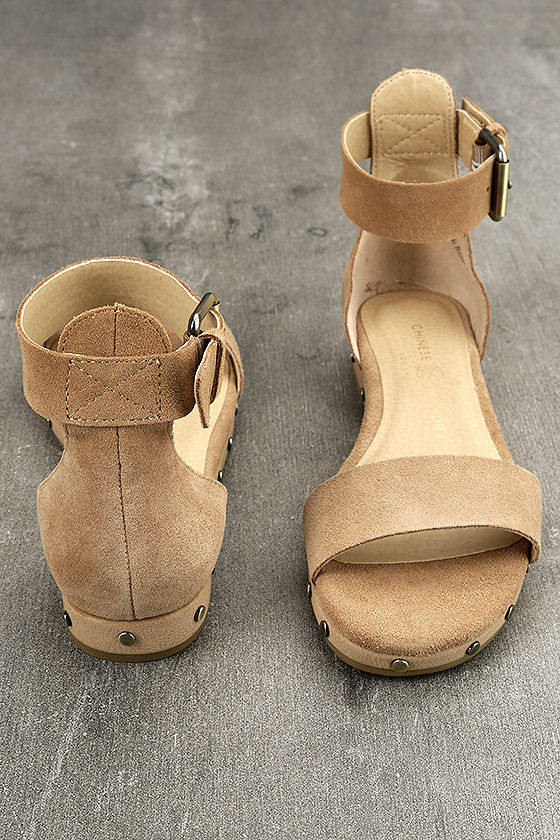 Chinese Laundry Grady Camel Suede Leather Ankle Strap Sandals 3