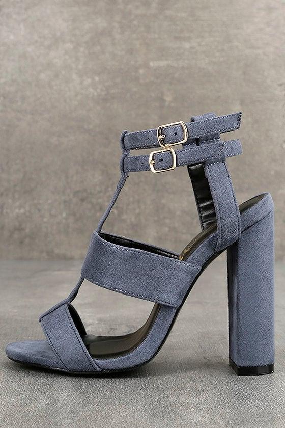 Idalia Blue Suede Strappy Peep Toe Heels 1