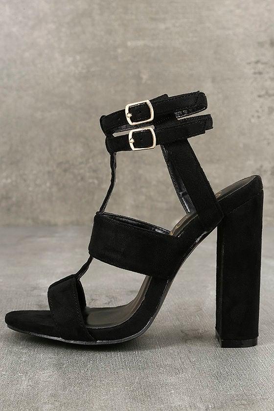 1eed3f246a Sexy Black Heels - Vegan Suede Heels - Strappy Heels - Peep Toe ...