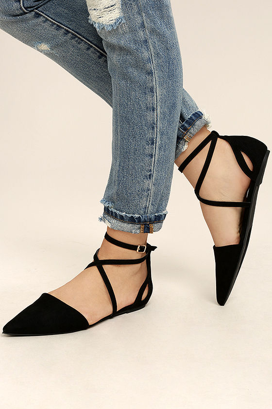 Rayna Black Suede Pointed Flats 2