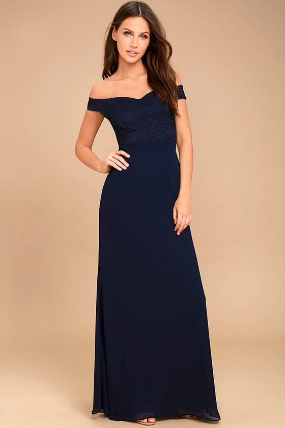 Dress to Impress Navy Blue Lace Off-the-Shoulder Maxi Dress 1