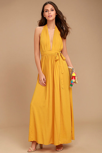 435205f934ab Magical Movement Mustard Yellow Wrap Maxi Dress