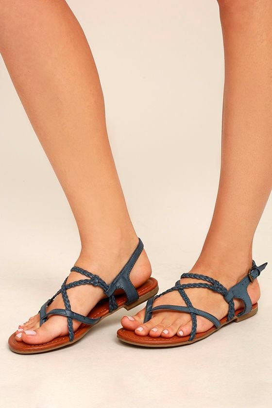 512e345a7ab Mia Dannie Denim Blue Sandals - Flat Sandals - Braided Sandals -  49.00